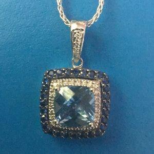 LeVian Blue Topaz, Sapphire and Diamond Necklace